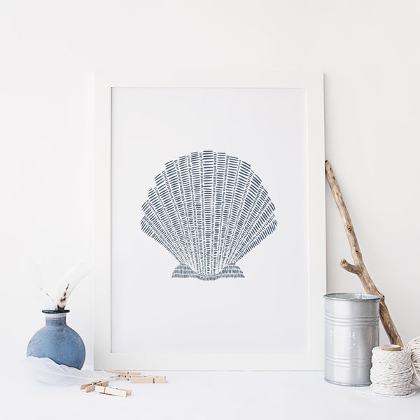 Scallop Seashell Nautical Blue and White Illustration Wall Art Print or Canvas - Jetty Home