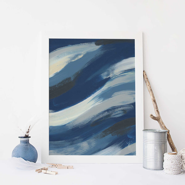 Blue and White Abstract Underwater Ocean Painting Beach Wall Art Print or Canvas - Jetty Home