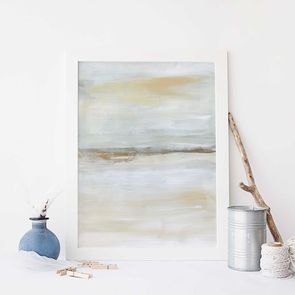 Warm Neutral Lake Painting Modern Wall Art Print or Canvas - Jetty Home