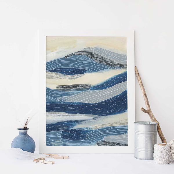 Under the Sea Modern Ocean Painting Blue and Cream Wall Art Print or Canvas - Jetty Home