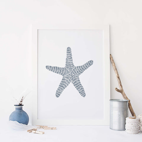 Modern Coastal Starfish Illustration Wall Art Print or Canvas - Jetty Home