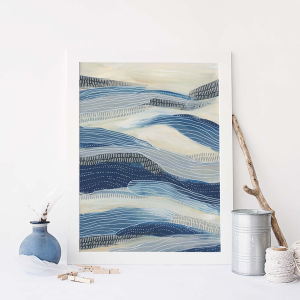 Underwater Waves Modern Coastal Painting Wall Art Print or Canvas - Jetty Home