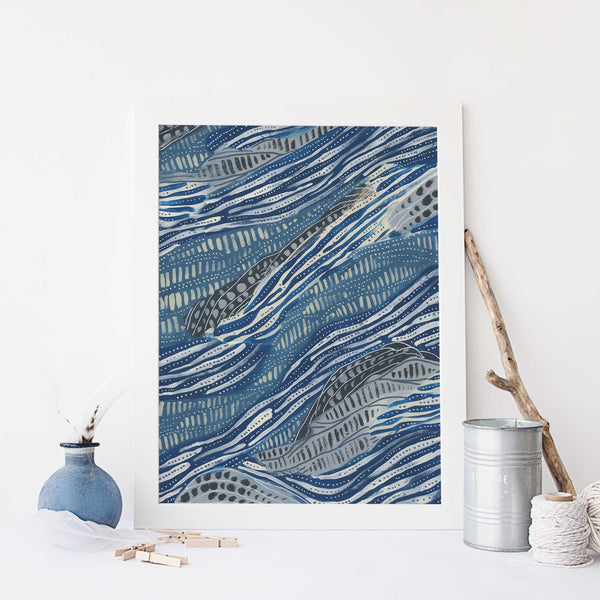 Ocean Painting Pattern Blue and Cream Abstract Wall Art Print or Canvas - Jetty Home