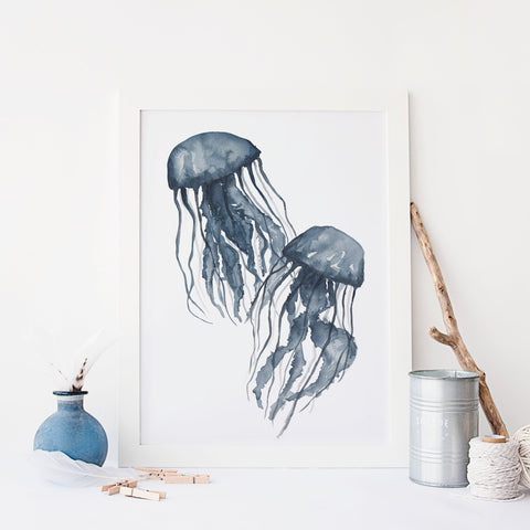 Navy Blue Jellyfish Painting Art Print or Canvas - Jetty Home