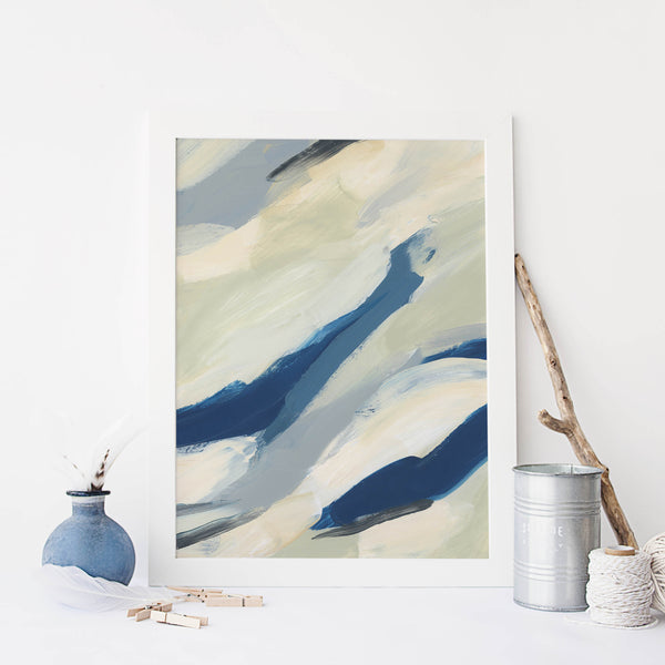 Abstract Painting Beach Ocean Movement Beige and Blue Wall Art Print or Canvas - Jetty Home