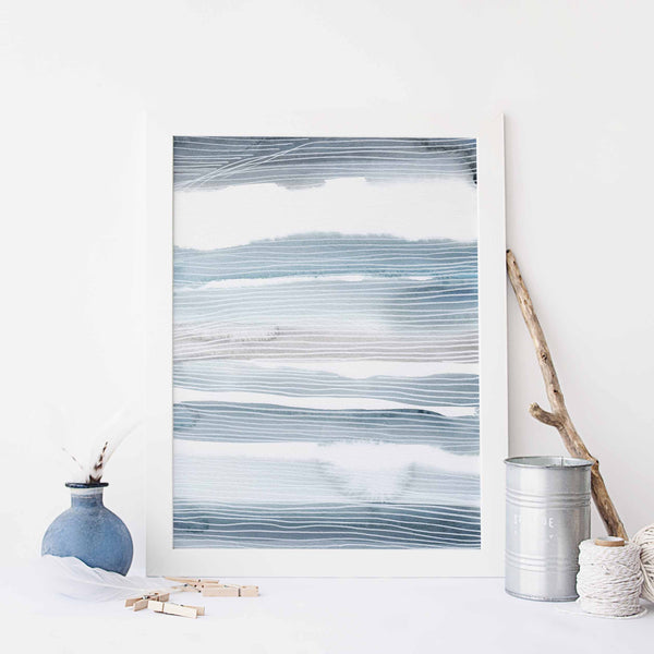 Blue and White Modern Coastal Watercolor Painting Wall Art Print or Canvas - Jetty Home