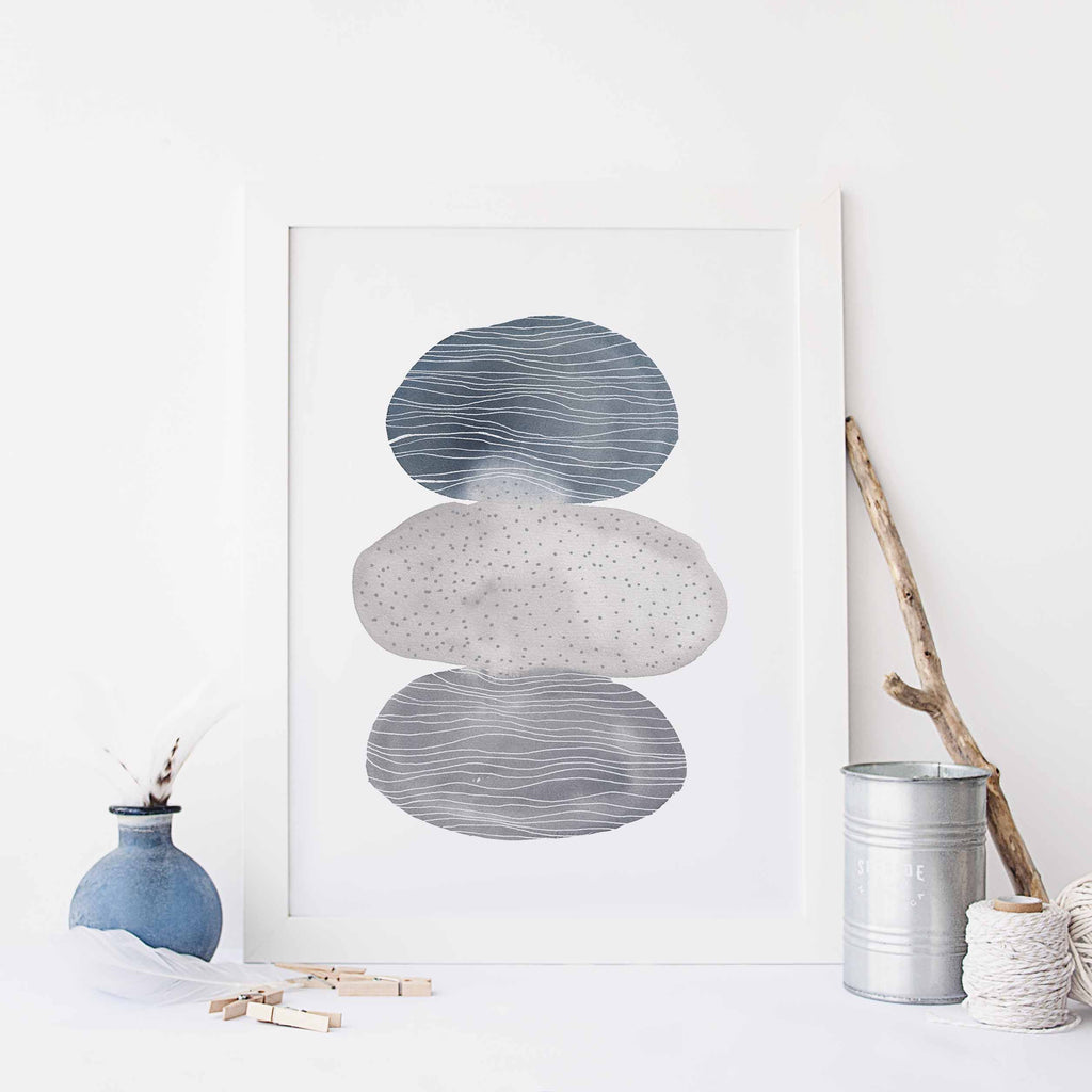 Neutral Gray Blue Watercolor Circle Modern Painting Wall Art Print or Canvas - Jetty Home