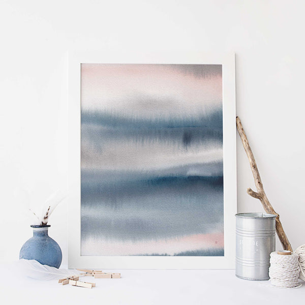 Ethereal Abstract Watercolor Painting Modern Coastal Wall Art Print or Canvas - Jetty Home