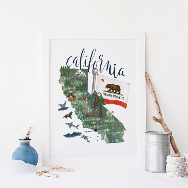 California State Map Art Print