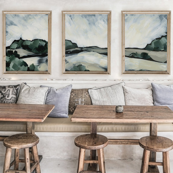 Moody Landscape Painting Triptych Set of Three Wall Art Prints or Canvas - Jetty Home