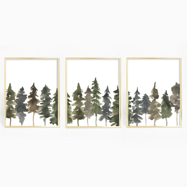 Pine Tree Line Watercolor Triptych Set of 3 Wall Art Prints or Canvases - Jetty Home
