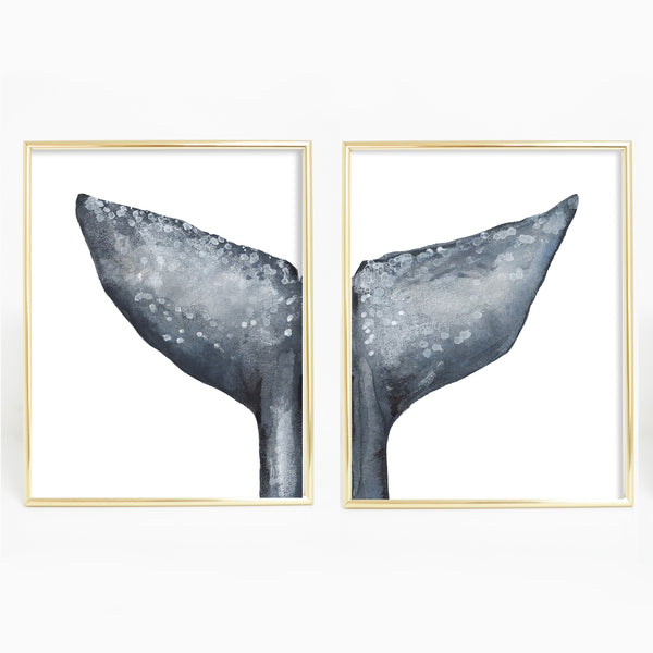Whale Tail Painting Modern Nautical Diptych Set of 2 Wall Art Print or Canvas - Jetty Home