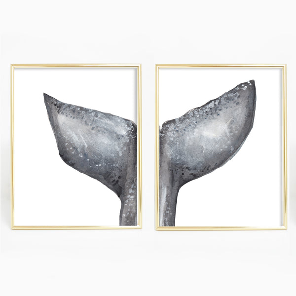 Diptych Whale Painting Tail Artwork Set of Two Wall Art Print or Canvas - Jetty Home