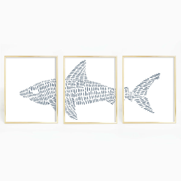 Great White Shark Illustrated Line Triptych Set of Three Wall Art Prints or Canvas - Jetty Home
