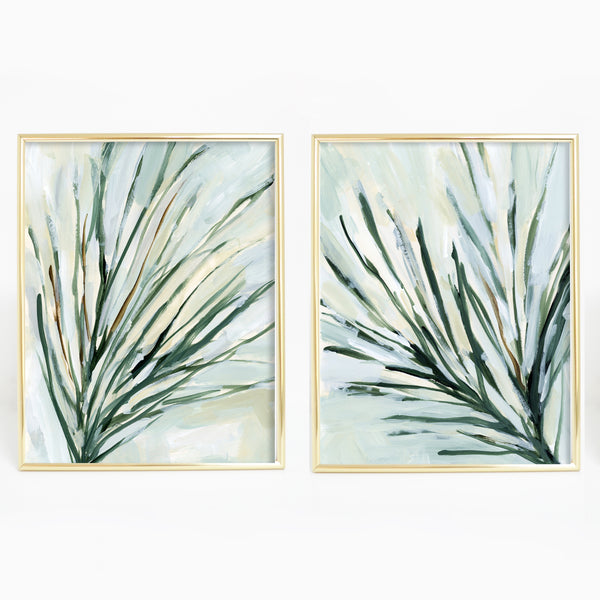 Pine Branch Paintings Diptych Set of 2 Wall Art Print or Canvas - Jetty Home