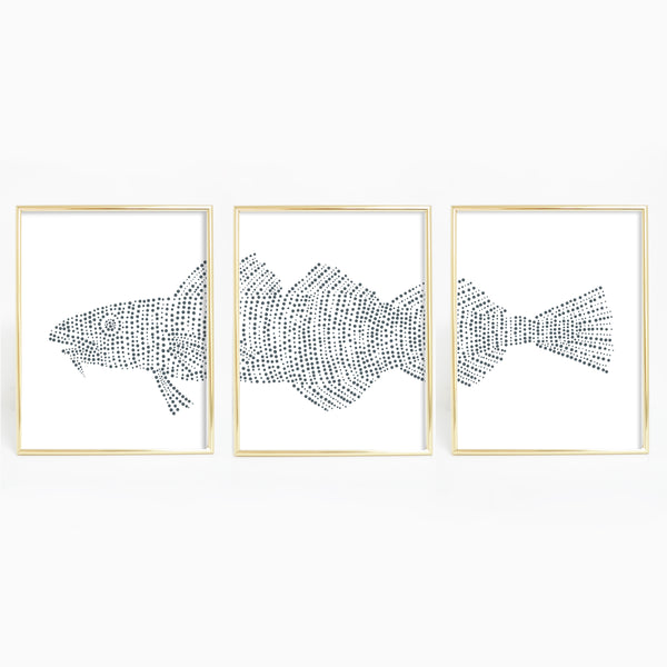 Cod Fish Modern Nautical Triptych Set of Three Wall Art Prints or Canvas - Jetty Home
