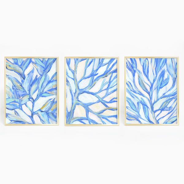 Seaweed Painting Modern Coastal Triptych Set of Three Wall Art Prints or Canvas - Jetty Home