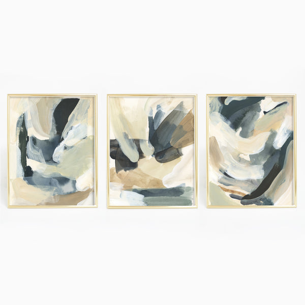 Modern Abstract Neutral Painting Triptych Set of Three Wall Art Prints or Canvas - Jetty Home