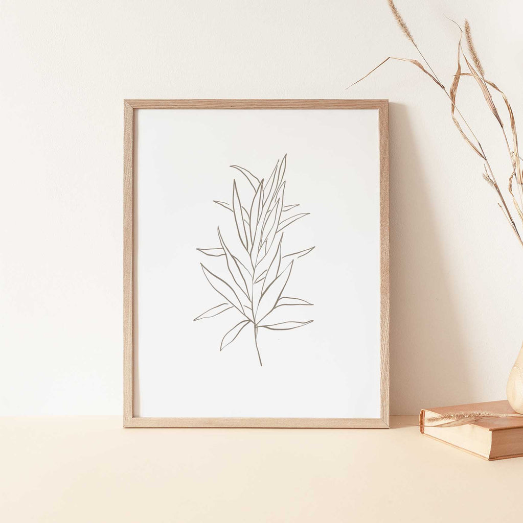 Modern Botanical Eucalyptus Line Illustration Minimalist Wall Art Print or Canvas - Jetty Home