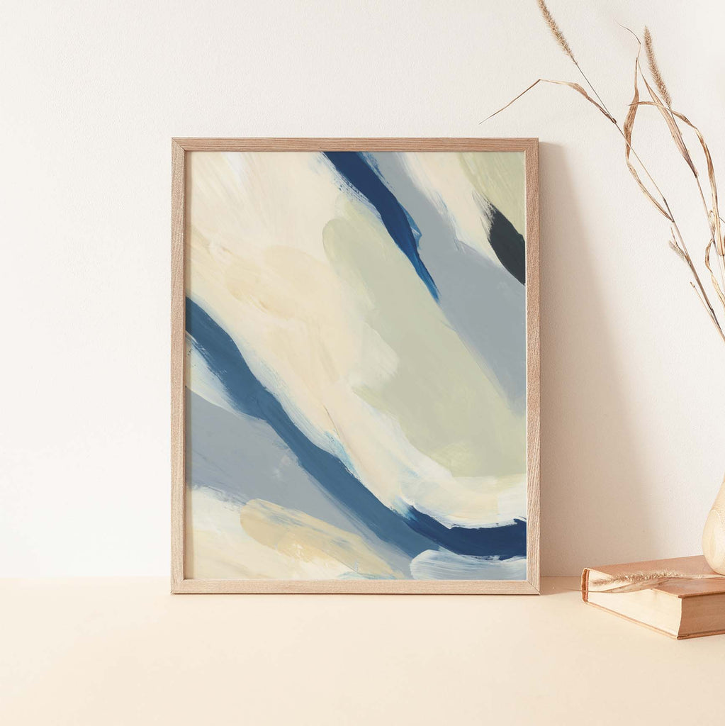 Modern Beach House Painting Nautical Cream and Blue Wall Art Print or Canvas - Jetty Home