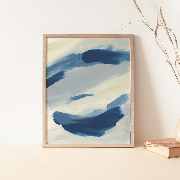 Abstract Beach House Blue and Cream Modern Painting Wall Art Print or Canvas - Jetty Home