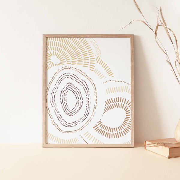Modern Abstract Bloom Shapes Warm Tone Wall Art Print or Canvas - Jetty Home