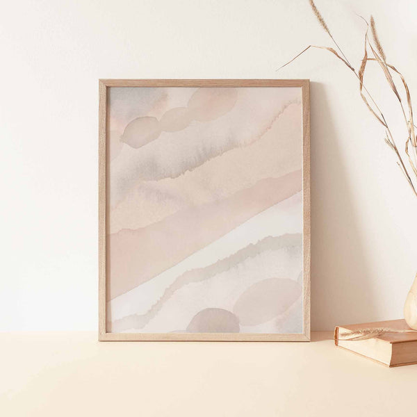 Neutral Pastel Watercolor Minimalist Painting Wall Art Print or Canvas - Jetty Home
