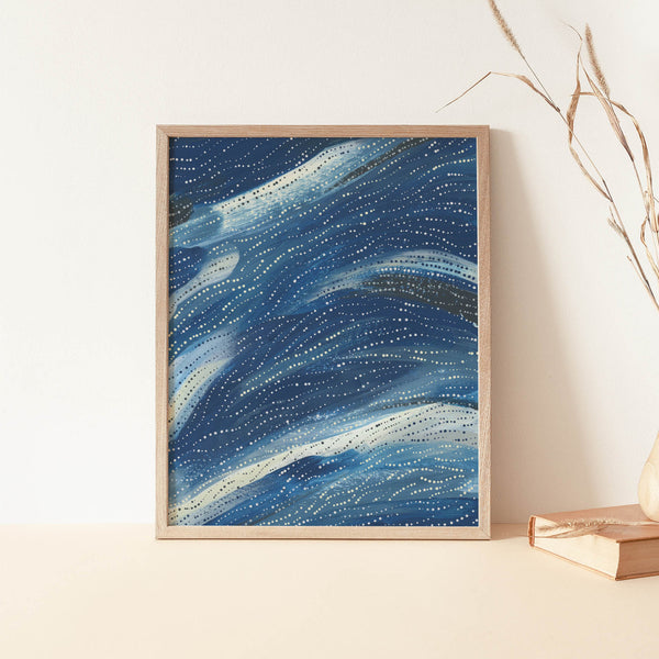 Abstract Wave Blue Modern Coastal Painting Dot Wall Art Print or Canvas - Jetty Home