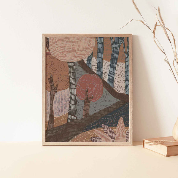 Boho Forest Scene Woodland Painting Earthy Warm Tones Wall Art Print or Canvas - Jetty Home