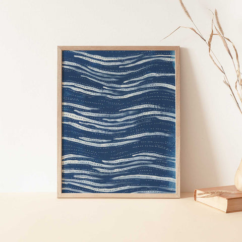 Blue Abstract Waves Ocean Painting Wall Art Print or Canvas - Jetty Home