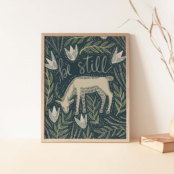 Be Still Scandinavian Deer Illustration Whimsical Wall Art Print or Canvas - Jetty Home