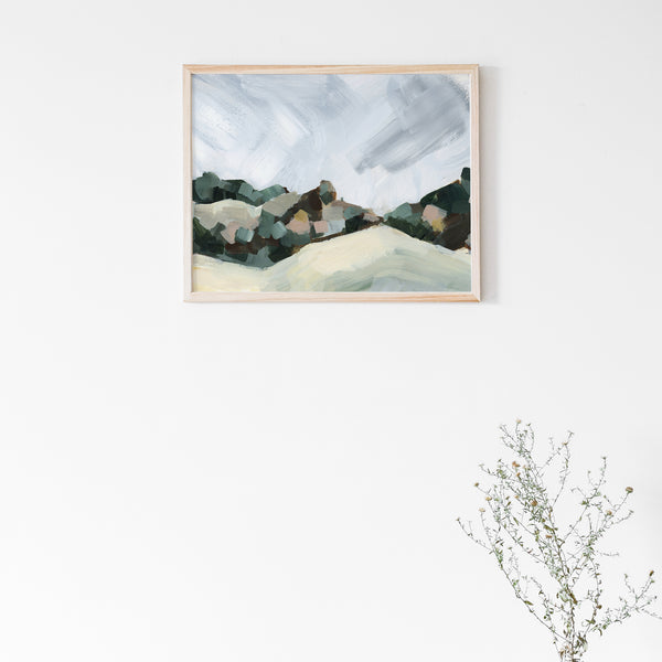 Abstract Hillside Country Landscape Painting View Wall Art Print or Canvas - Jetty Home