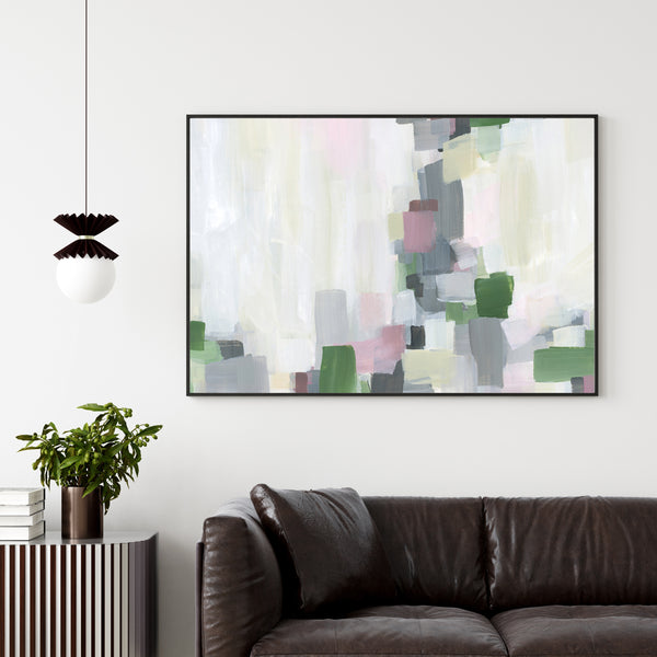 Contemporary Abstract Spring Pastel and Gray Painting Wall Art Print or Canvas - Jetty Home