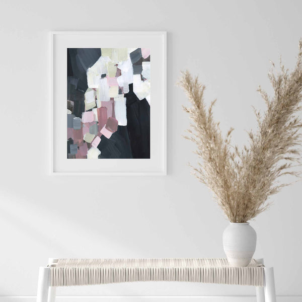 Pink, Black and White Modern Contemporary Abstract Wall Art Print or Canvas - Jetty Home