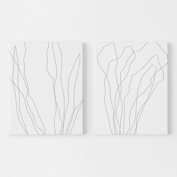 Seaweed Modern Minimalist Coastal Simple Diptych Set of 2 Wall Art Print or Canvas - Jetty Home