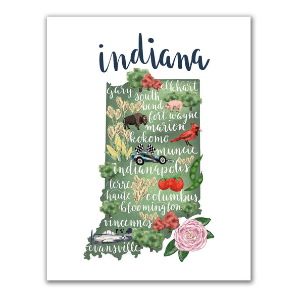 Indiana State Map Art Print - Jetty Home