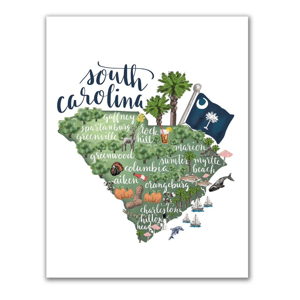 South Carolina State Map Art Print – Jetty Home