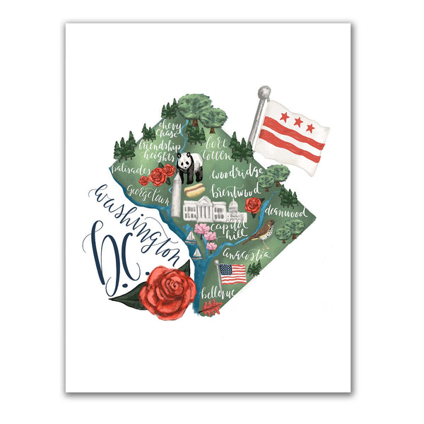 Washington DC Map Art Print - Jetty Home