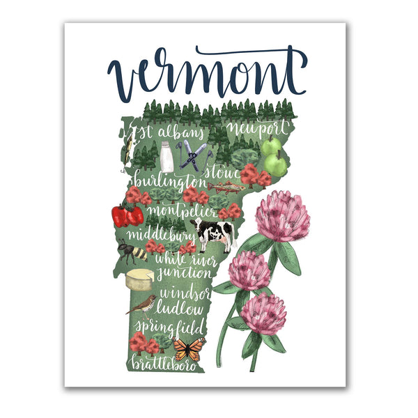 Vermont State Map Art Print - Jetty Home