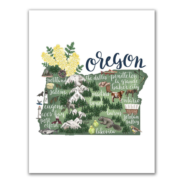 Oregon State Map Art Print - Jetty Home
