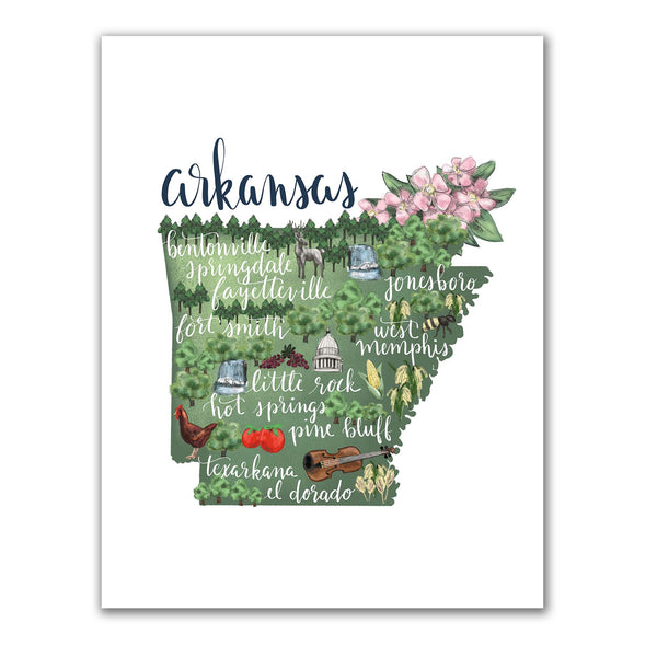 Arkansas State Map Art Print - Jetty Home