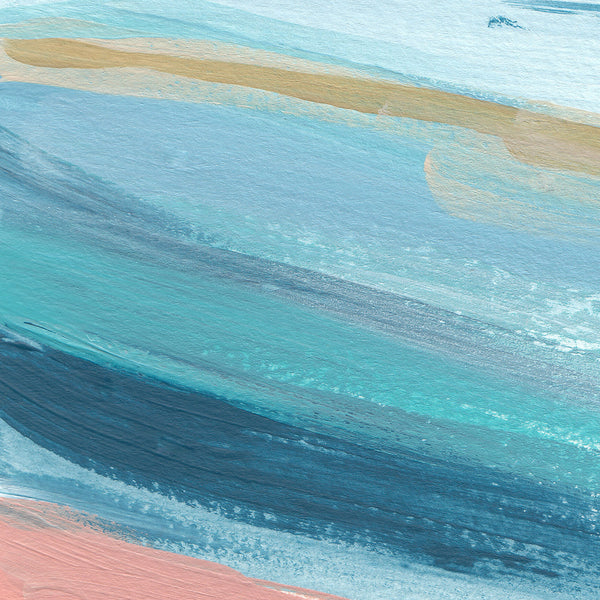 Abstract Seascape Beach Painting Turquoise Salmon Pink Wall Art Print - Jetty Home