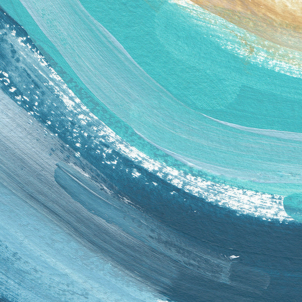 Ocean Swell Abstract Turquoise and Salmon Pink Painting Wall Art Print - Jetty Home