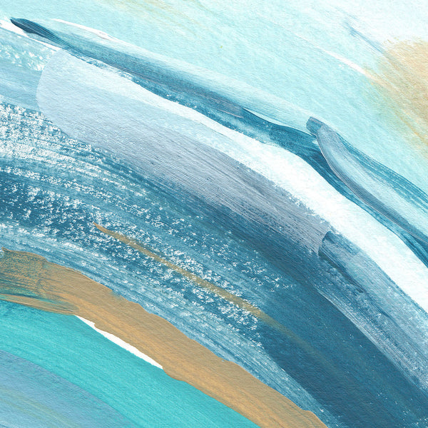 Modern Beach House Painting Blue, Turquoise and Salmon Wall Art Print - Jetty Home