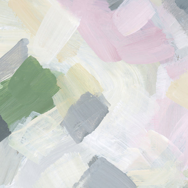 Pastel Abstract Painting Pink, Green and White Wall Art Print or Canvas - Jetty Home