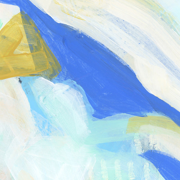 Blue and White Ocean Abstract Painting Modern Coastal Wall Art Print or Canvas - Jetty Home