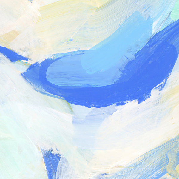 Abstract Modern Coastal Ocean Painting Blue Wall Art Print or Canvas - Jetty Home