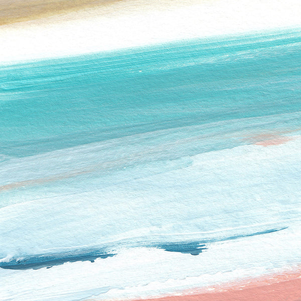 Modern Beach House Painting Turquoise Seascape Ocean Wall Art Print - Jetty Home