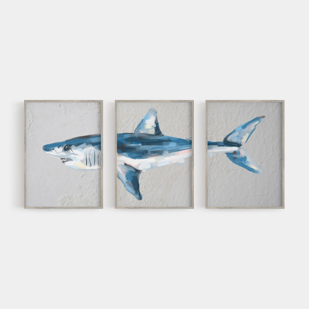 Mako Shark Triptych Wall Art Print or Canvas - Jetty Home