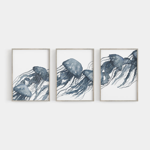 Watercolor Blue Jellyfish Triptych Wall Art Print or Canvas - Jetty Home